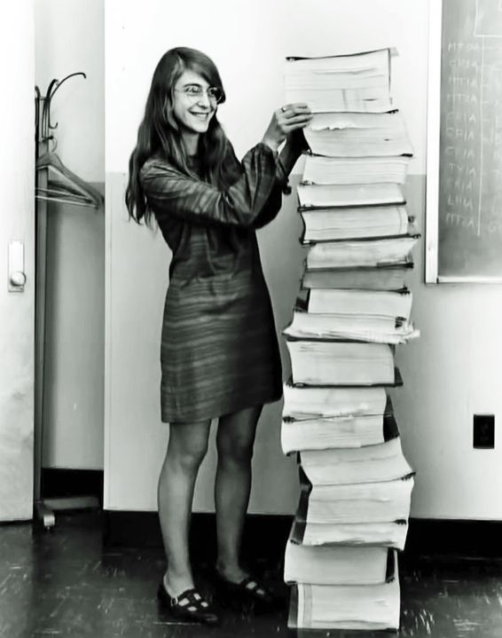 NASA Apollo Program chief software engineer Margaret Hamilton: The software for the guidance computer was written by a team at the MIT Instrumentation Laboratory (now the Draper Laboratory), headed up by Margaret Hamilton. Here's an amazing picture of her next to the code she and her colleagues wrote for the Apollo 11 guidance computer that made the moon landing possible. (Year??)