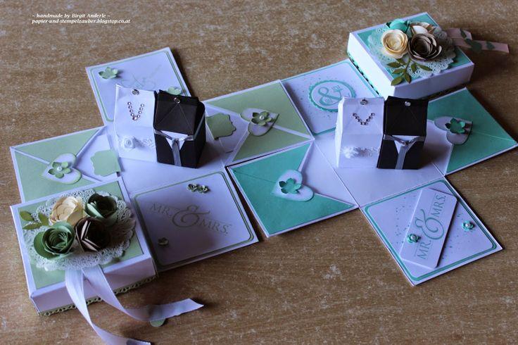 Stampin up, Wedding Hochzeit, Explosionsbox, Mini Milchkarton, Spiralblume, Zarter Zweig