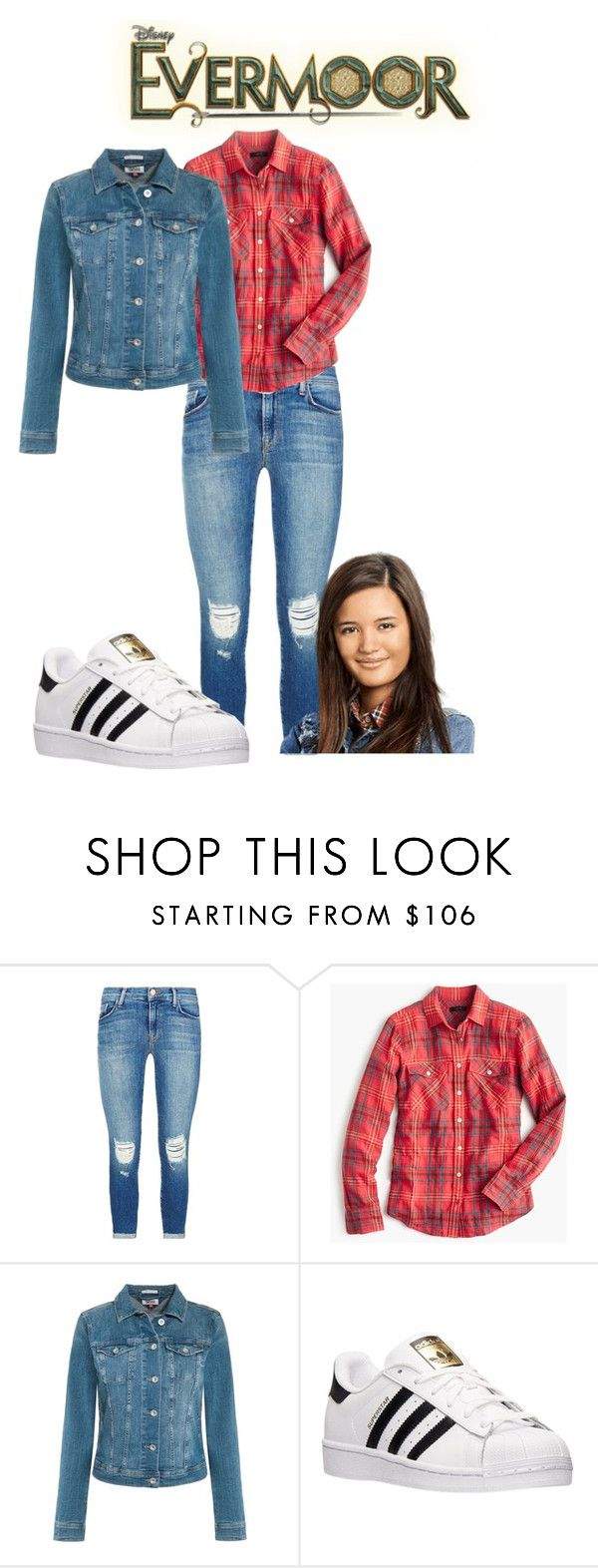 """evermoor"" by maria-look ❤ liked on Polyvore featuring J Brand, J.Crew, Tommy Hilfiger and adidas"