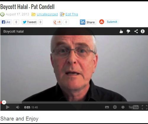 Pat Condell has produced this powerful video to explain why he is Boycotting Halal Certified products & services... See it on the BOYCOTT HALAL website.