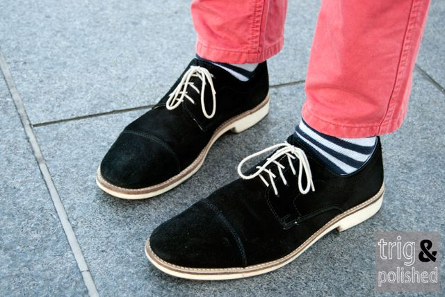 #eleven shoes menswear streetstyle Trig & Polished striped socks: Streetstyle Trig, Socks Http Www Blacksocks Com, Casual Shoes, Shoe Socks Pant Combo, Approved Mens