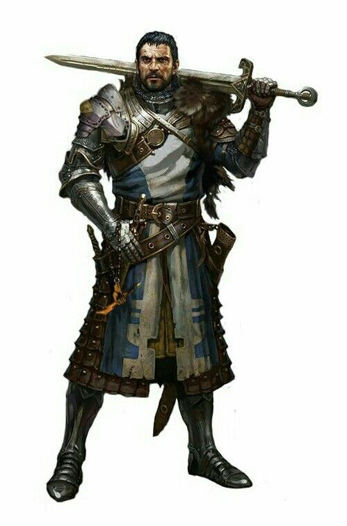 Human Knight Fighter - Pathfinder PFRPG DND D&D d20 fantasy