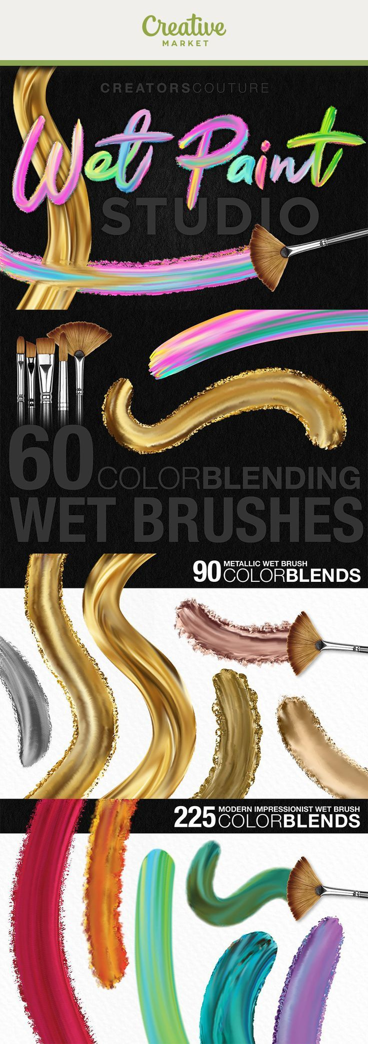 Ad: HUGE collection of60 mixer photoshop brushesand615 palettes(which you don't even have to load!) will allow you to pick up a brush and paint in beautifulmulti-color, metallic and iridescent strokes, allowing you to create designs, illustrations, h