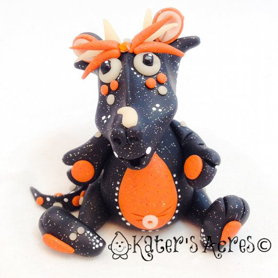 Polymer Clay Dragon 'Hallow S Eve' Limited Edition Collectible for Halloween by KatersAcres