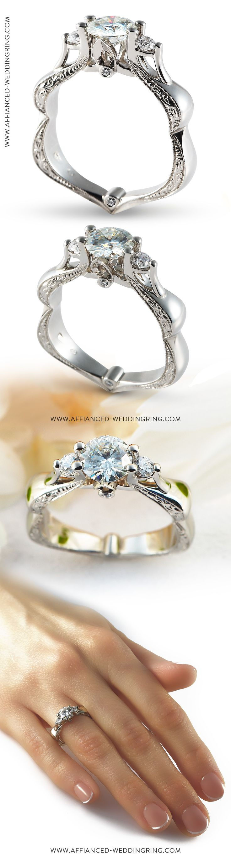 Uniquely designed white gold engagement ring decorated with center 1ct diamond 2 pcs diamonds and hand engraving.