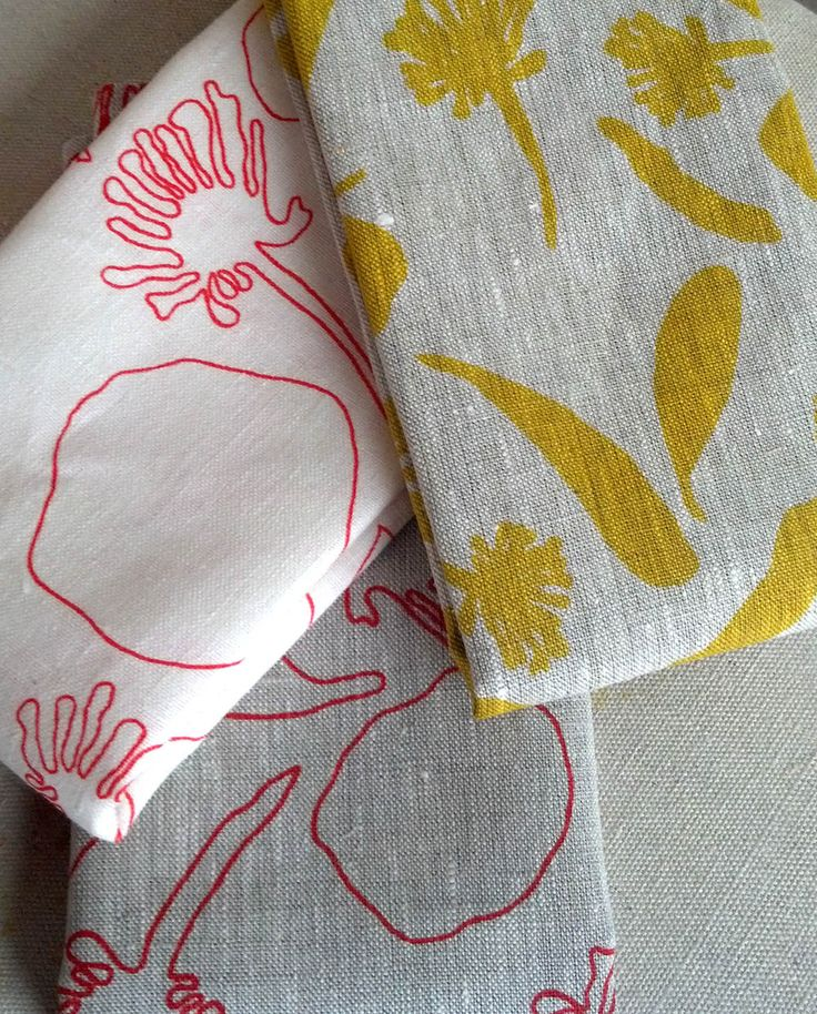 100% Linen Hand Printed Tea Towel/Kitchen Towel by FemkeTextiles on Etsy
