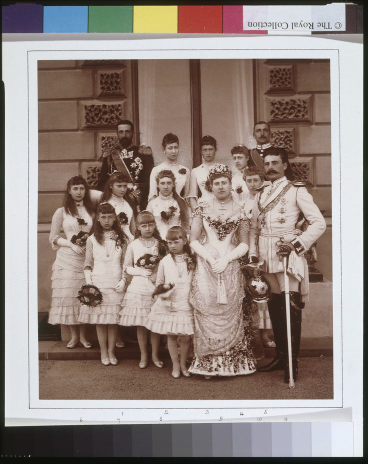 """longliveroyalty: """"Wedding group photograph of Princess Beatrice of the United Kingdom and Prince Henry of Battenberg. July 23, 1885. Group includes: Alexander, Prince of Bulgaria; Princess Louise of..."""