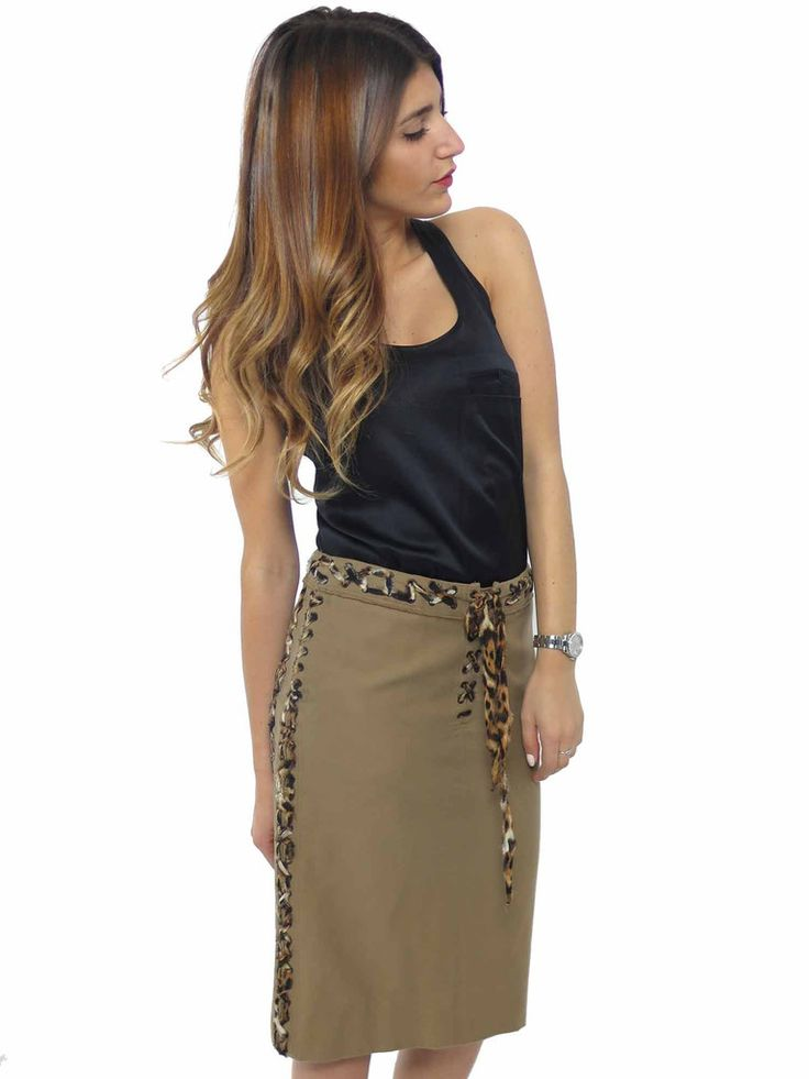Yves Saint Laurent | Chiffon Leopard Lace-Up Trim Skirt www.sabrinascloset.com