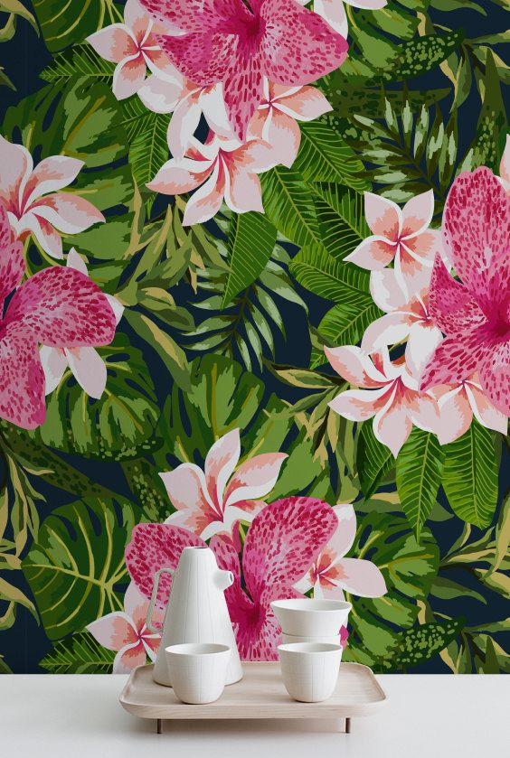 BLOOMING JUNGLE Peel & Stick Wallpaper Removable by WallfloraShop