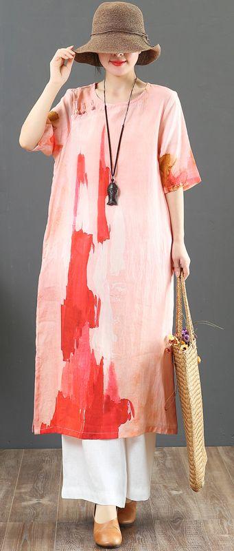 dfdb95e3563 Style pink print linen dresses plus size Online Shopping o neck side open  long Summer Dress