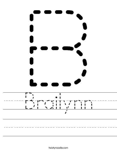 Brailynn Worksheet - Twisty Noodle | Preschool worksheets ...