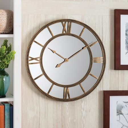Better Homes and Gardens Mirror Clock, Distressed Gold - Walmart.com
