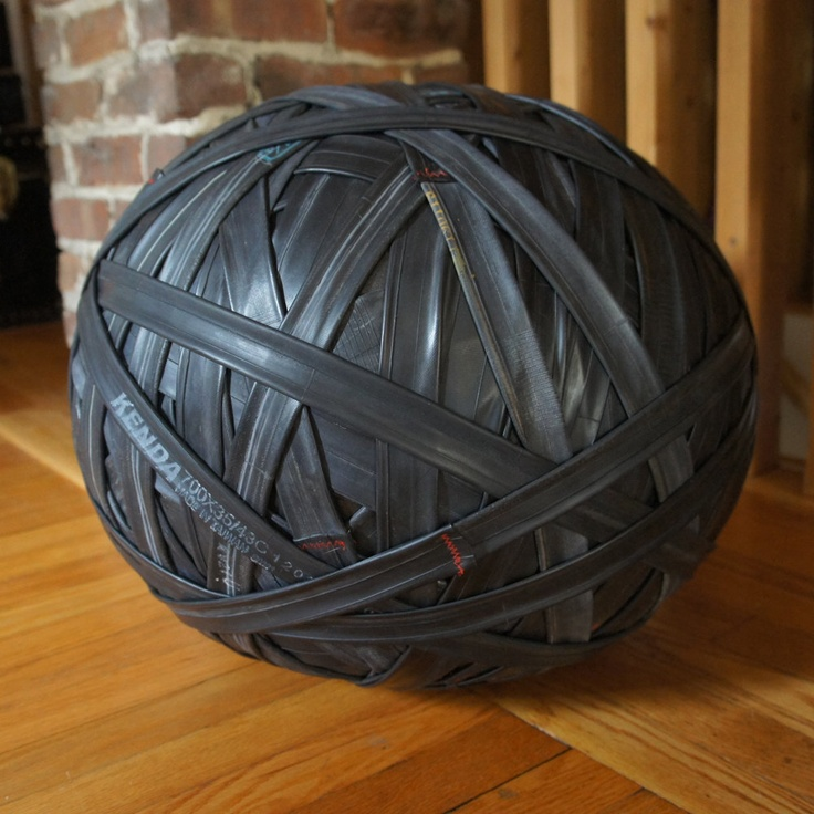 CYQL one of a kind upcycled ottoman 17 round by DesignLaboratoire - So Cool!!