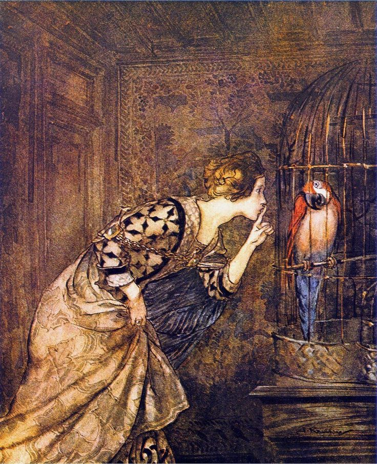 Mary Colven and the Parrot, from Some British Ballads, Constable & Co., 1919 // Arthur Rackham