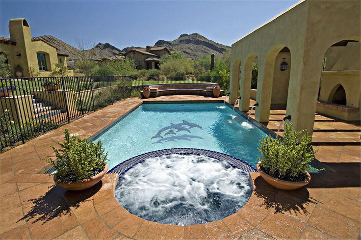 Double Dolphin Ceramic Mosaic Tile Pool Application