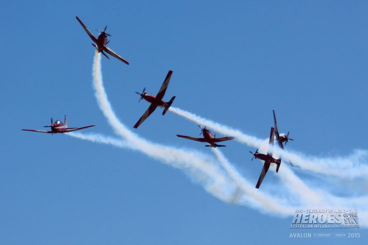 RAAF Roulettes display team in Pilatus PC 9A trainers, at Australian International Air Show 2013.