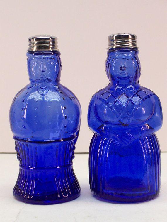 Vintage Imperial Cobalt Blue Glass Aunt Jemima and Butler Salt and Pepper Shaker Set  by GarageSaleGlass, $39.99