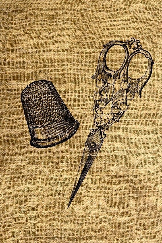 Vintage Thimble and Scissors