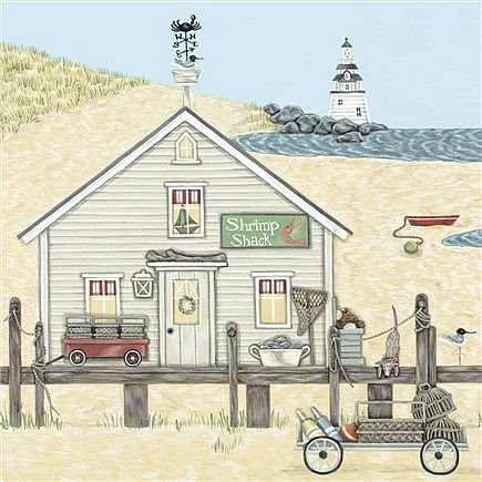 Shrimp Shack Greetings Card - Sally Swannell