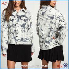 2015 mujeres de compras en línea de gran tamaño gris nublado tachonada dril de algodón de la chaqueta
