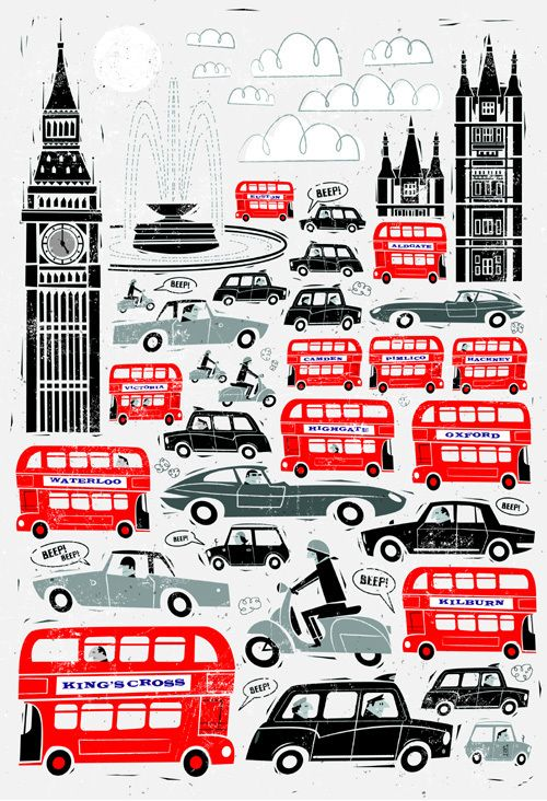 Illustration Inspiration. I love the use of color in this illustration. I also love the illustration design; the cartoon images have a really cool style. I can also sense the motion in the image! The design caught my eye through the use of color and held my attention because of my love for all things London! :)