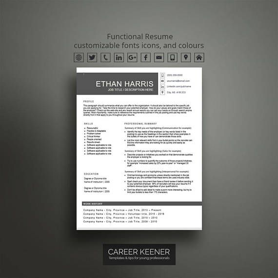 Stand out with this creative functional resume template for word. This is a one page resume best used when you dont need a cover letter. This modern resume design is simple to use to create an easy-to-read professional resume that makes a strong first impression on hiring managers.