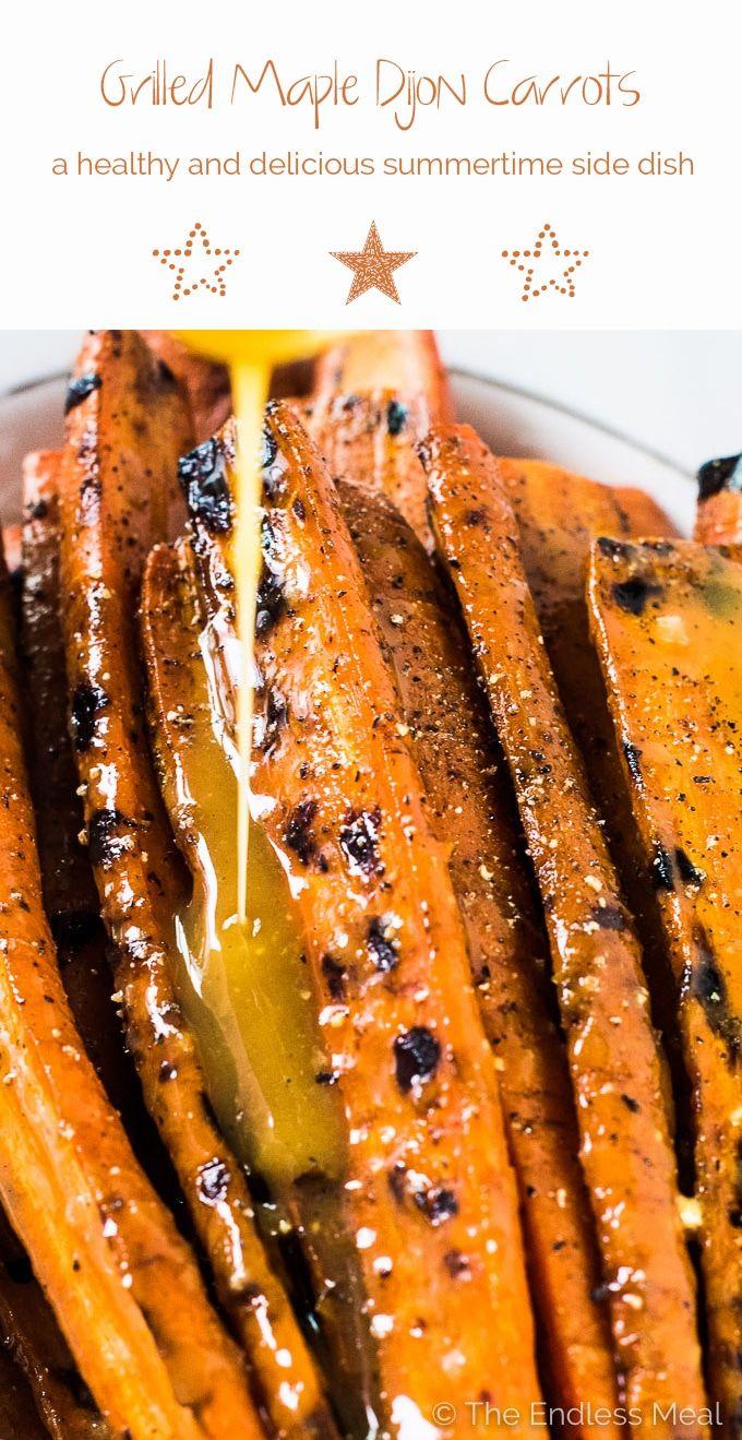 Estos podrían ser los mejores darn Maple dijon zanahorias nunca.  No es mentira.  Están asados en la barbacoa luego cubierto en un fácil de hacer y super deliciosa salsa de arce dijon.  Son una receta de plato natural vegan + sin gluten + paleo que todo el mundo se enamorará.     Theendlessmeal.com