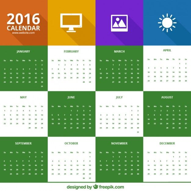 2016 calendar in icons style Vector | Free Download