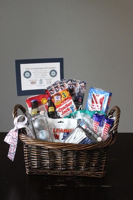 MLB Seattle Mariners Silent Auction Gift Basket. Tickets gift basket. Baseball Game Basket. | Baskets and Gifts Galore! | Silent auction baskets, Auction ...