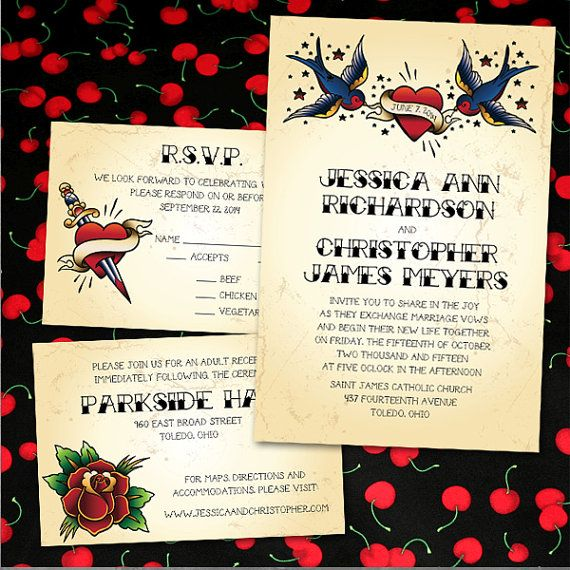 Exceptional Custom Vintage Tattoo Wedding Invitations By PuttinOnTheGlitz4U, $4.95