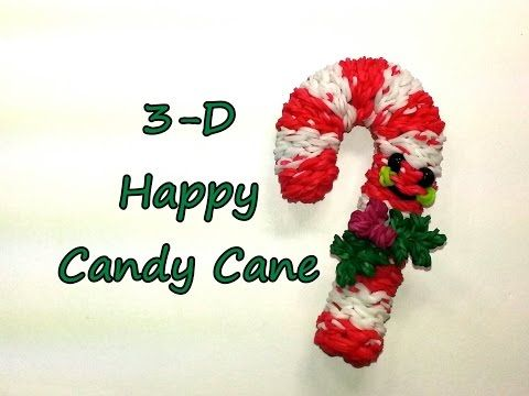 3-D Happy Candy Cane Tutorial by feelinspiffy (Rainbow Loom). Keeps its shape without wires. So cute. Love her happy foods!!!