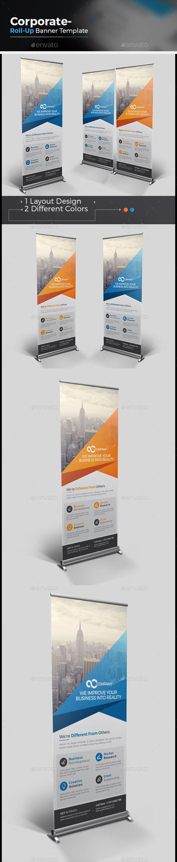 Roll-up Banner Template Vector EPS, AI #design Download: http://graphicriver.net/item/rollup-banner/14469509?ref=ksioks