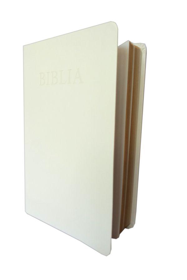 Biblia NTR (Biblia Noua Traducere), coperta imitatie piele, alba, aurita pe margini