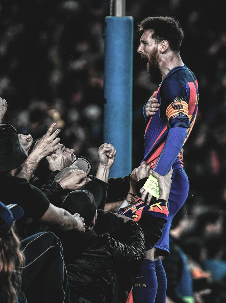 Messi celebrando el 6 - 1 al PSG.