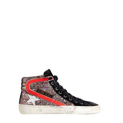Sneakers Slide Red Canvas Multicolor GlitterGolden Goose S4o7v