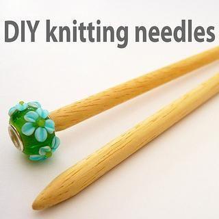 DIY knitting needles - Wood dowel, pretty bead, sand paper, glue.