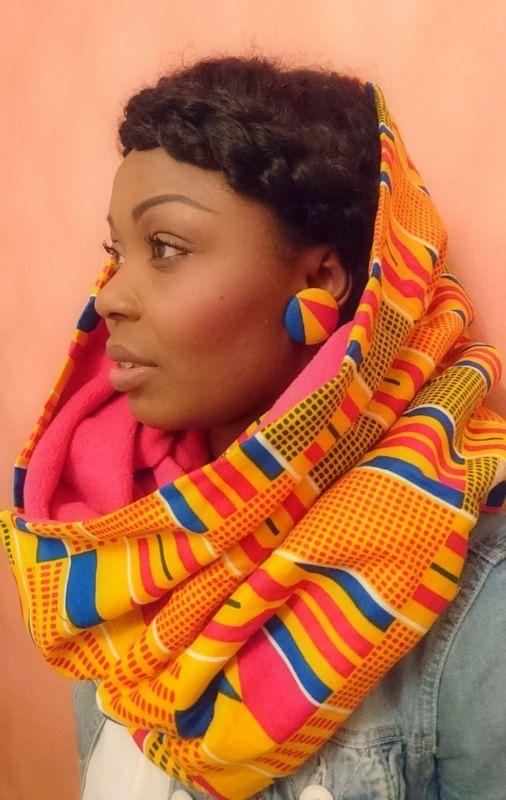 "Parure wax écharpe polaire ""ADJA"" + boucles wax Kola 38mm de la boutique EBEbyAmsu sur Etsy"