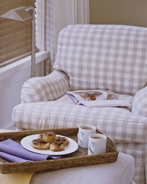 Bliss is morning coffee in the comfort of a bedroom armchair covered in a Rogers & Goffigon gingham.