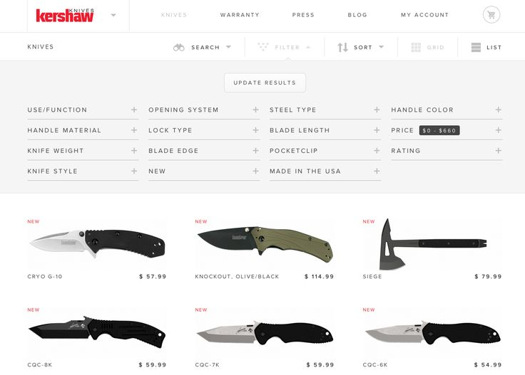 Knives! But great search / filter UI.http://kershaw.kaiusaltd.com