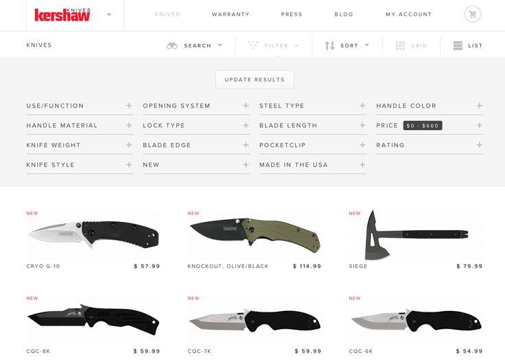 Knives! But great search / filter UI.http://kershaw.kaiusaltd.com