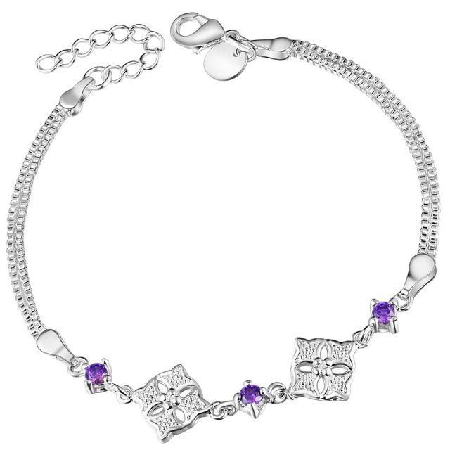 3 colors!  Luxury Rhinestone Crystal Bracelets For Women Silver Chain Bracelets Femme Bridal Wedding Jewelry 2016 AB296