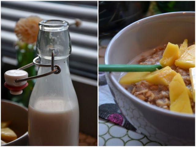 Brændstof: Dagens morgenmad: Trekornsgrød med frisk mango, vanilje og hjemmelavet nøddemælk