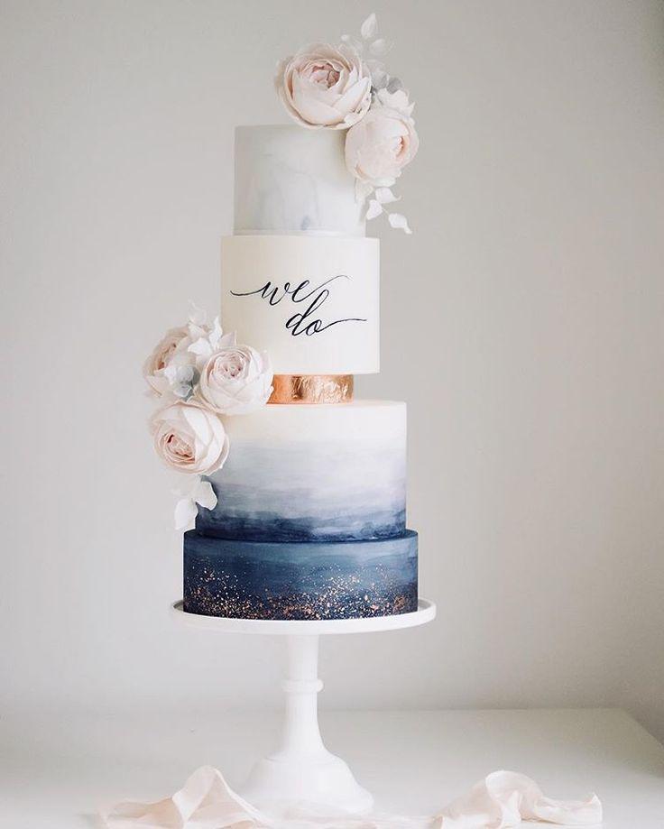 Etwas blau ! Aquarell ist immer noch beliebt für dieses Jahr #Hochzeitstorte #Kuchen # …   – Blue wedding inspiration