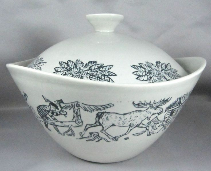 Vintage Figgjo Stavangerflint Norway bowl original Bast motives Hunton Bruk 60s