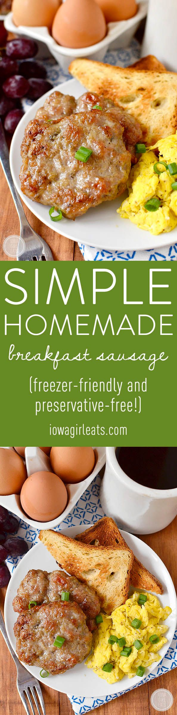 Simple Homemade Breakfast Sausage is made with pantry staples, freezer-friendly, and preservative and gluten-free!| iowagirleats.com