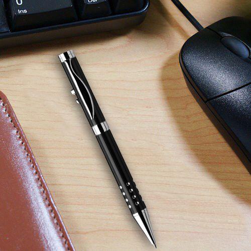 Fém lézerpointer tollal és lámpával (gravírozott) - fekete