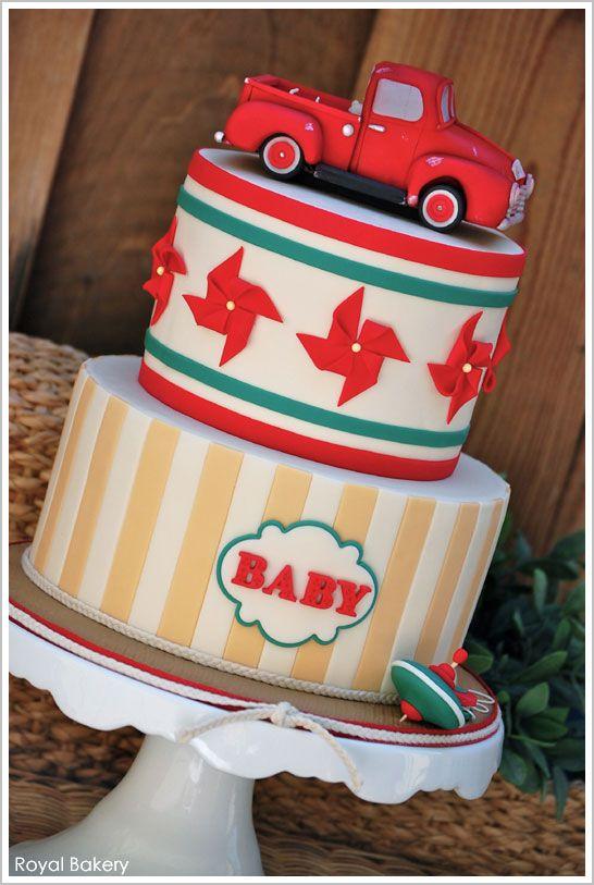 Vintage Truck Baby Cake