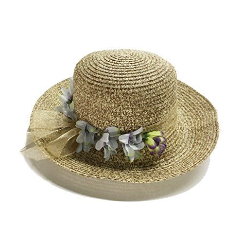 Women Floppy Sun Beach Straw Hats Wide Brim Packable Summer Cap Flower  High Quality & Flower band Design: 100% paper straw [cellulosic fibre + polyester]. Lightweight,ventilated and soft for a luxurious customized feel. Nice way to cut down some of the heat. The Flower band design adds more fashion and femininity.Throw on this straw hat to instantly be the most stylish person around,no matter the occasion.  Detachable Head Strap: Adjustable for a snug fit,won't blown off when it gets ...