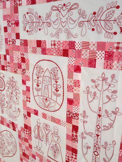 Scandinavian Rose #1 redwork quilt