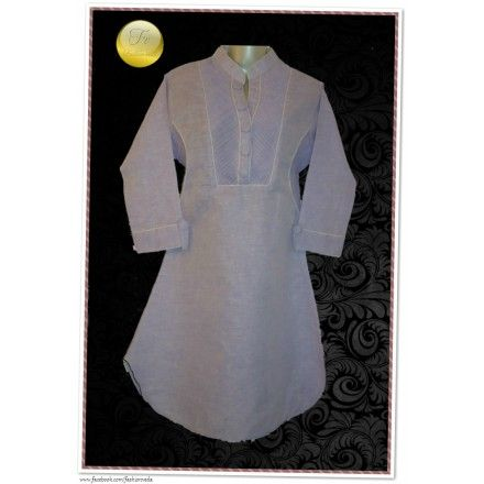 A shirt style smart Kurti.Simple yet different.  # Shirt style kurti.  # Pleating on front & under the sleeves.  # Chinese Collar  # Rounded hem  # Fabric covered buttons on front panel & cuffs.  # Cotton Linen  # Semi stitched, Length- 39.5in  # Color- Light purple
